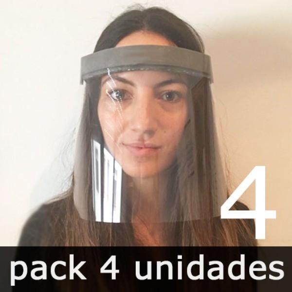 PANTALLA FACIAL PREVENTIVA CONTRA EL COVID-19 (4 unidades)