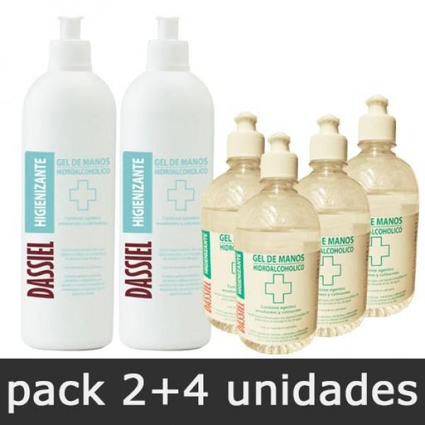 Gel de Manos Hidroalcohólico - Pack 2 botes 500ml + 4 botes 150ml