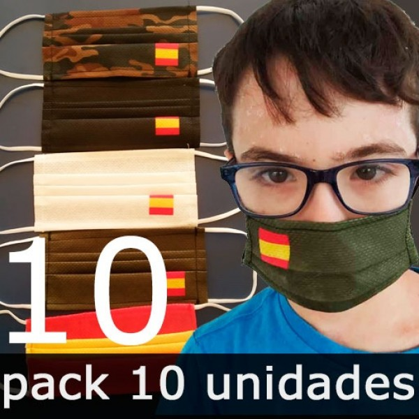 Mascarillas para Niños Higiénicas Reutilizables (España) - Pack 10 Unidades